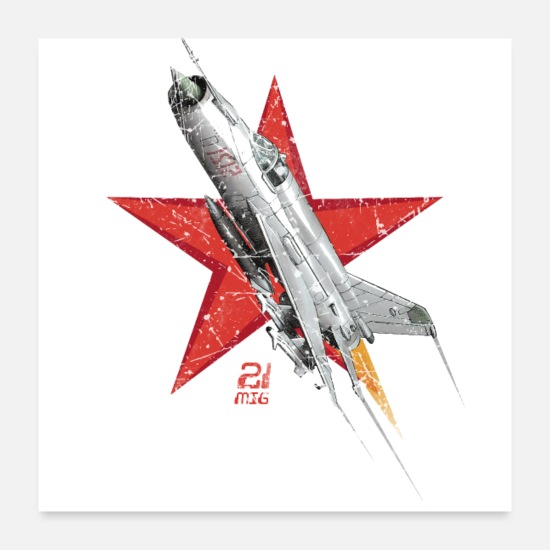 Vintage Posters - MIG 21 Russian Air Force - Posters white