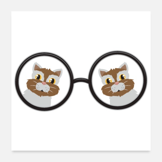Grandad Posters - Cute Animals Cat In Glasses Cat Lover Gift Idea - Posters white