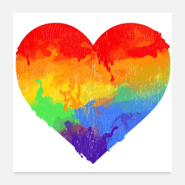 Heartbeat Water Color rainbow Heart universal grunge - Poster