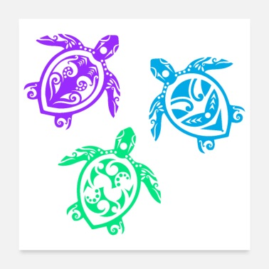 Group Maori Three Turtles Group Tattoo Gift Idea - Poster