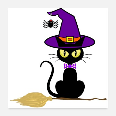 Cat Halloween Cat witch Hat Spider Broom - Poster