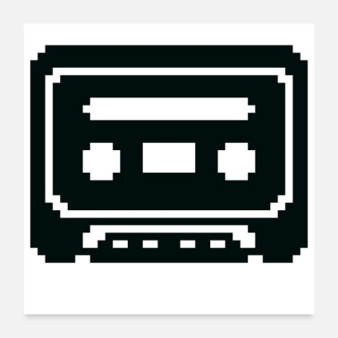 Cassette Pixelated Cassette Tape in Black - Poster