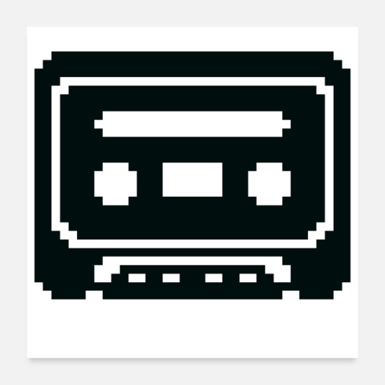 Symbol  Posters - Pixelated Cassette Tape in Black - Posters white