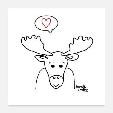 Antler Moose with big antlers - Poster