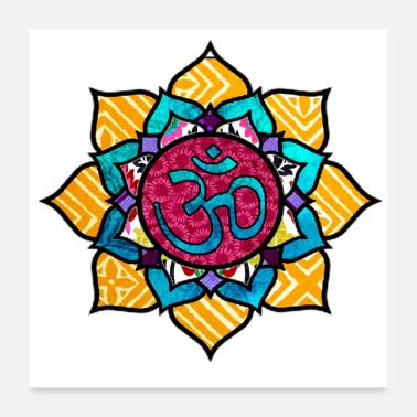 Retro Ohm/Om Symbol Mandala Retro & Colorful Design - Poster