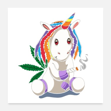 Hairstyle Joint Smoking Funky Unicorn Weed Cannabis Smoking - Poster