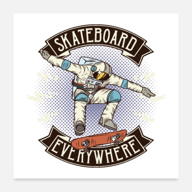 Backflip Outer Space Skateboarding Everywere Astronaut SK8 - Poster