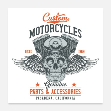 Motocycle Custom Motorcycles Biker Skull Workshop Mechanic - Poster