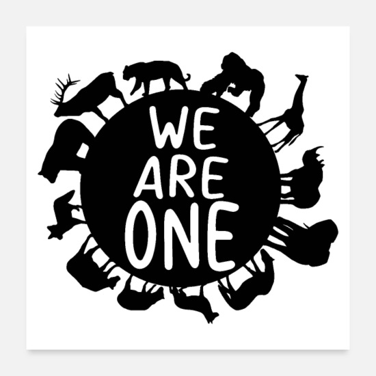 Nature Posters - Unity Day Shirt We Are One Shirt Earth Animals - Posters white
