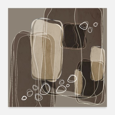 Interior Retro Block Design in Ivory and Taupe - Poster