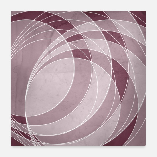 Abstract Posters - Orbiting Circle Design in Mulberry - Posters white