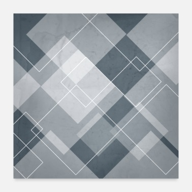 Blue Overlapping Diamond Design in Peninsula Blue - Poster