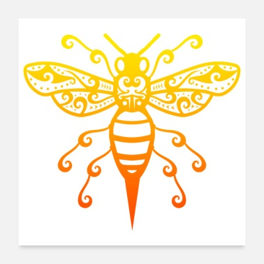 Honey Bee Bee Maori Style Polynesian Tribal Tattoo Gift Idea - Poster