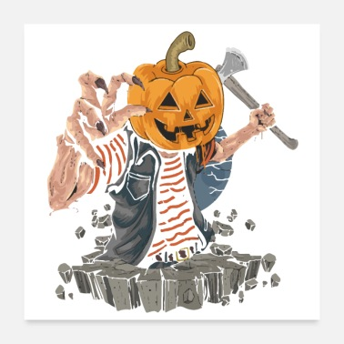 Pumpkin Head zombie with pumpkin head killer halloween party ar - Poster