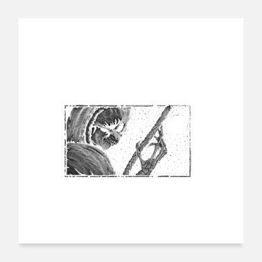Rectangle Black and white skeleton in rectangle frame - Poster
