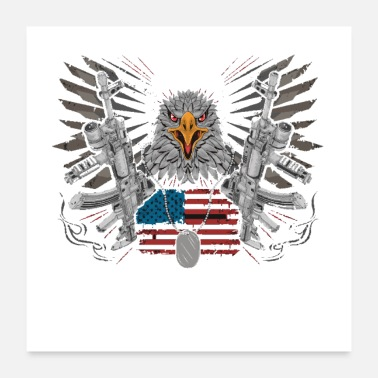 Usage Eagle head usa america country with gun weapon ak - Poster