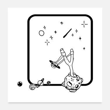 Moon Star Moon hunting stars with spring - Poster