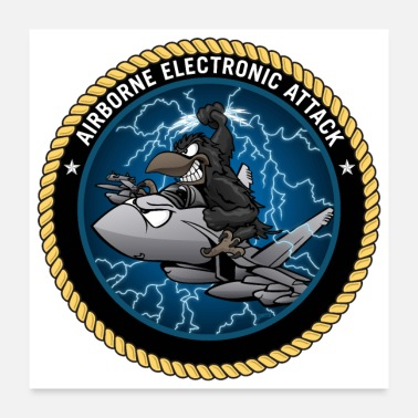 Aggressive Airborne Electronic Attack EA-18 Growler Cartoon - Poster