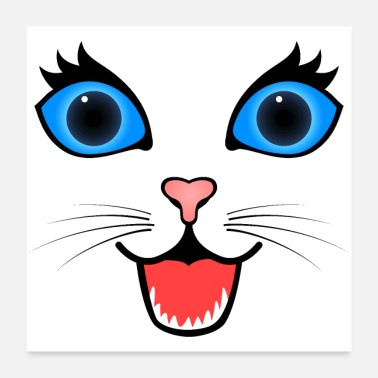 Happy Face Happy Surprised Cat Face - Poster