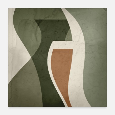 Interior Contemporary Abstract Vase Shapes in Sage Green, - Poster