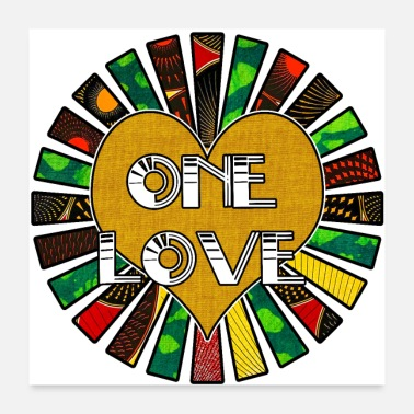 African One Love Rasta African Fabric Collage - Poster
