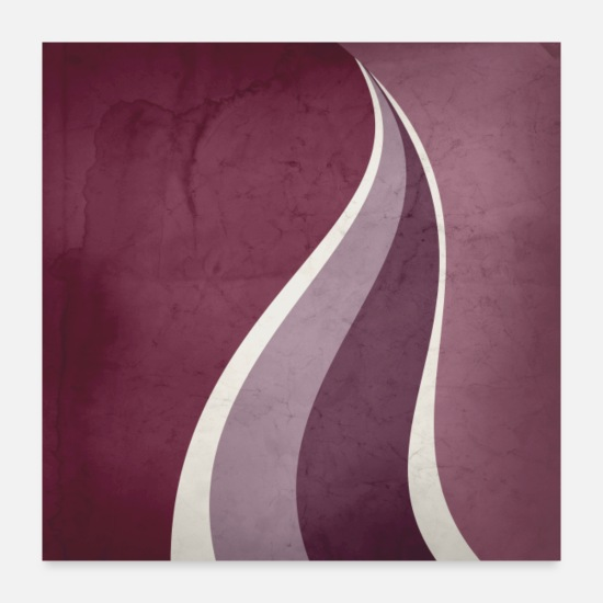 Abstract Posters - Contemporary Abstract Swerves in Mulberry, Mauve - Posters white