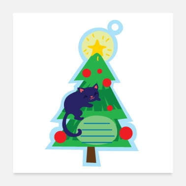 Christmas Tree Christmas tag with christmas tree - Poster