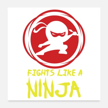 Japanese American Fights like a Ninja Fan Funny Gift Idea - Poster