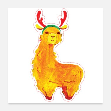 Antler Llama with red reindeer antlers - Poster