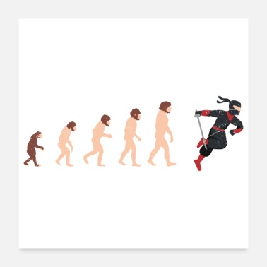 Japanese American Human Evolution Ninja Fan Funny Gift Idea - Poster