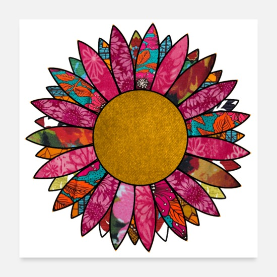 Hippie Posters - Pretty in Pink Retro Flower - Posters white