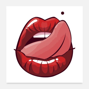 Lipgloss Sexy Lips Lipgloss Tongue Women kiss erotic - Poster