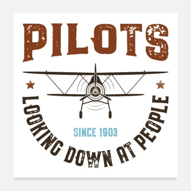 Detroit Pilots Looking Down at People - Poster