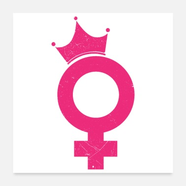 Female Feminist Gender Female Symbol with Crown Gift Idea - Poster