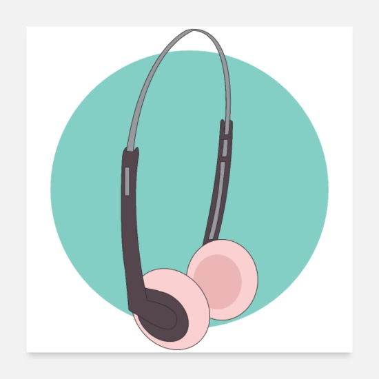 Grungy Posters - 90's headphones - Posters white