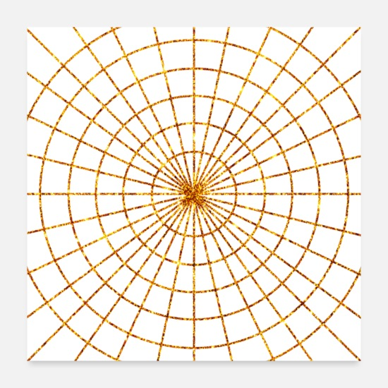 Sparkle Posters - Golden Spider web luster gold in black color - Posters white