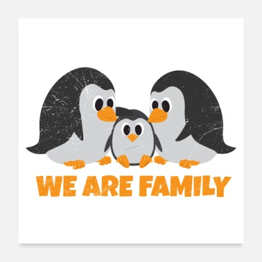 Parents Penguin We are family Parenting Gift Idea - Poster