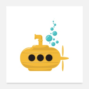 Water Yellow Submarine with bubbles Diver Gift Idea - Poster