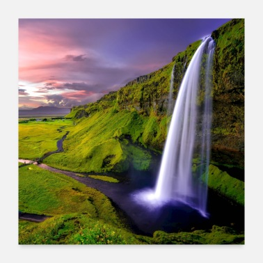 Scenery Time lapse scenery of waterfalls during sunset - Poster