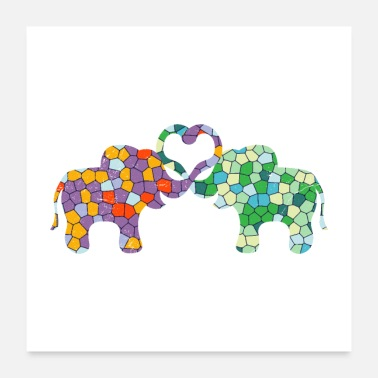 Africa Mosaic Elephant Couple Love Gift Idea - Poster
