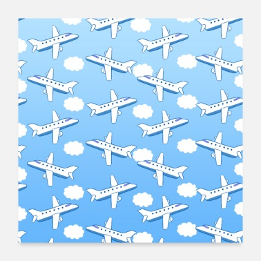 Airplane Airplanes Clouds - Poster