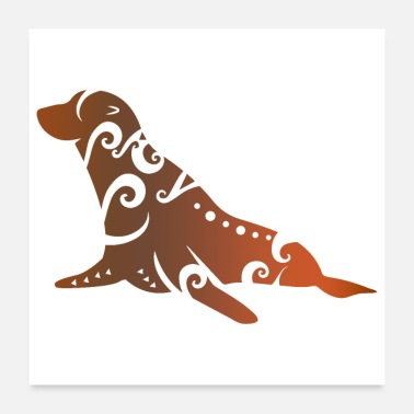 Fur New Zealand Fur Seal Maori Tribal Tattoo Gift Idea - Poster