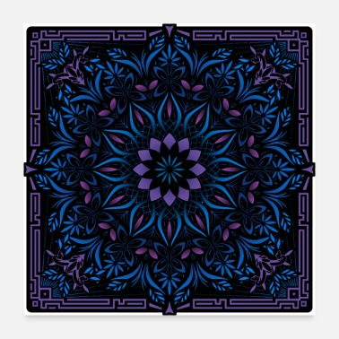 Intricate Psychedelic Mandala Geometric Color Illustration - Poster