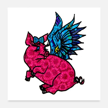 Pig Lover Floral Flying Pig - Poster