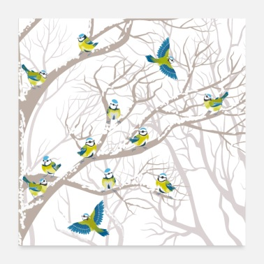 Budgie flowers bird drawing - Poster