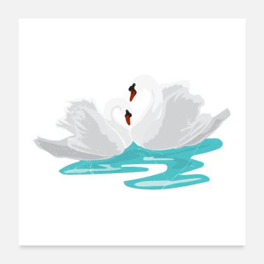 Funny Couple Swan Couple Love Partnerlook Gift Idea - Poster
