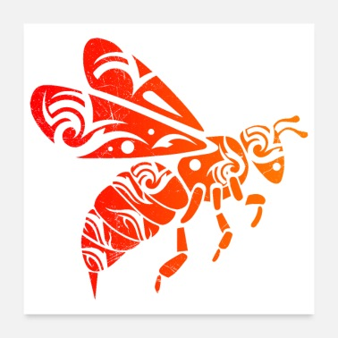 Bee Hive Bee Tribal Tattoo Gift Idea - Poster