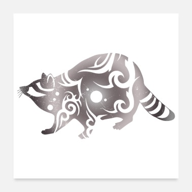 Tribal Raccoon Tribal Tattoo Gray Gift Idea - Poster