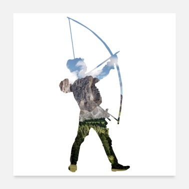 Crossbow Double Exposure Art Archery Funny Gift Idea - Poster