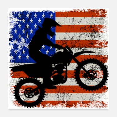 Bike Dirt Bike American Flag Shirt 4th of july t shirt - Poster